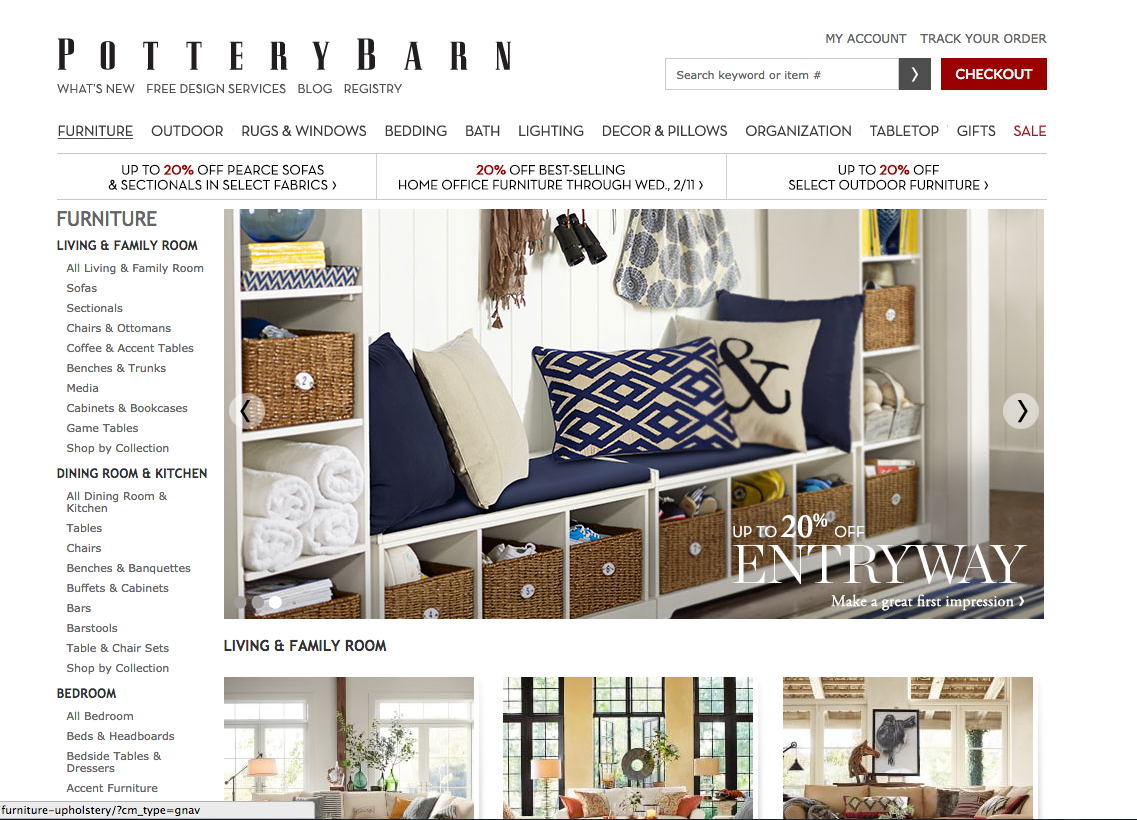 Screen Shot of the Pottery Barn Website