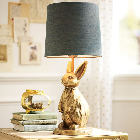 PB Teen Gold Bunny Lamp with Grey Lampshade