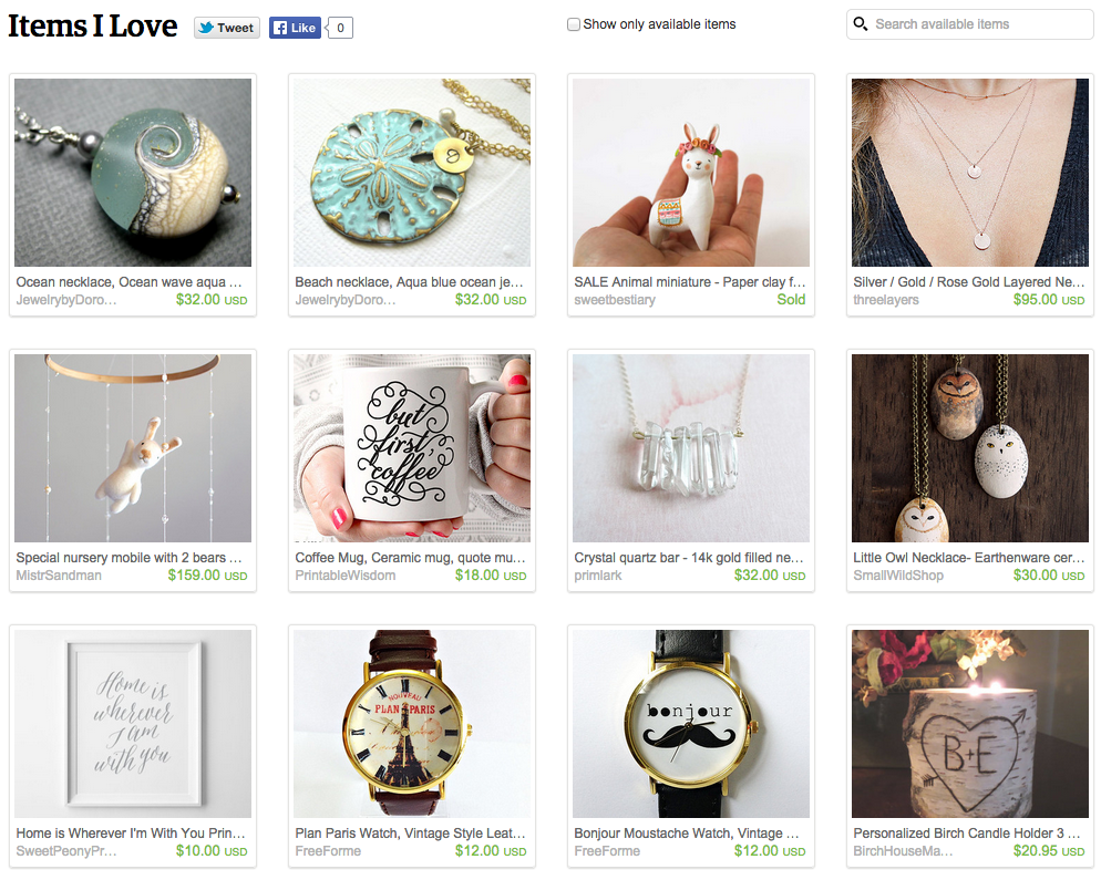Screen Shot of items I love on Etsy