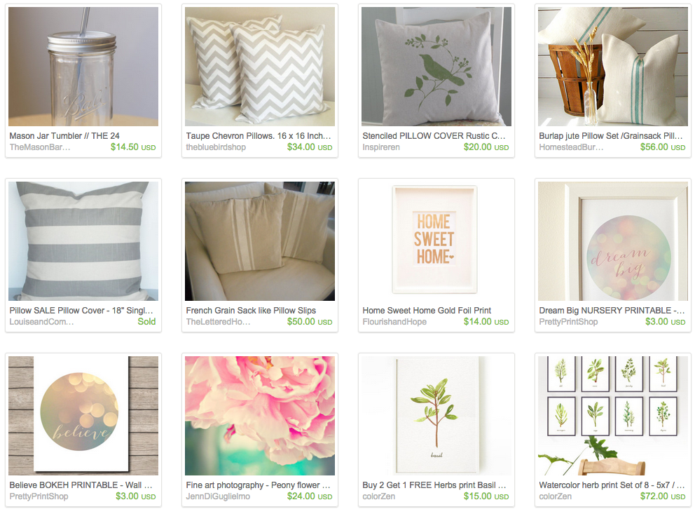 Screen Shot of more items I love on Etsy