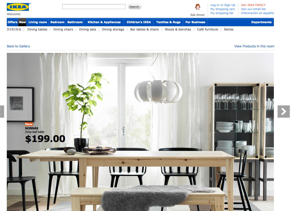 Screen Shot of the Ikea Website