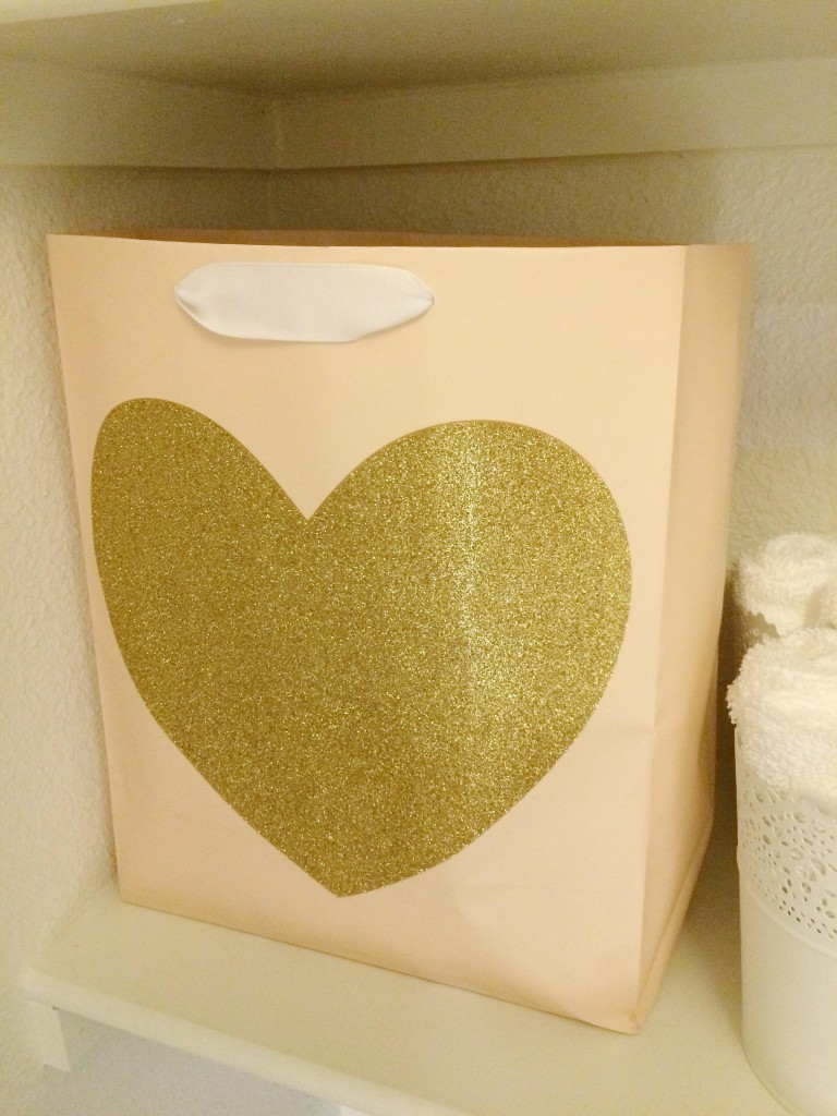 Blush and gold heart gift bag