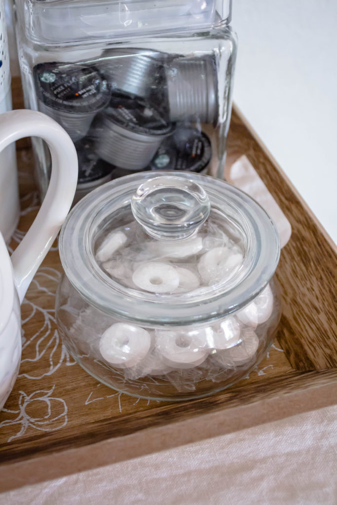 coffee pods in jar and mints in jar