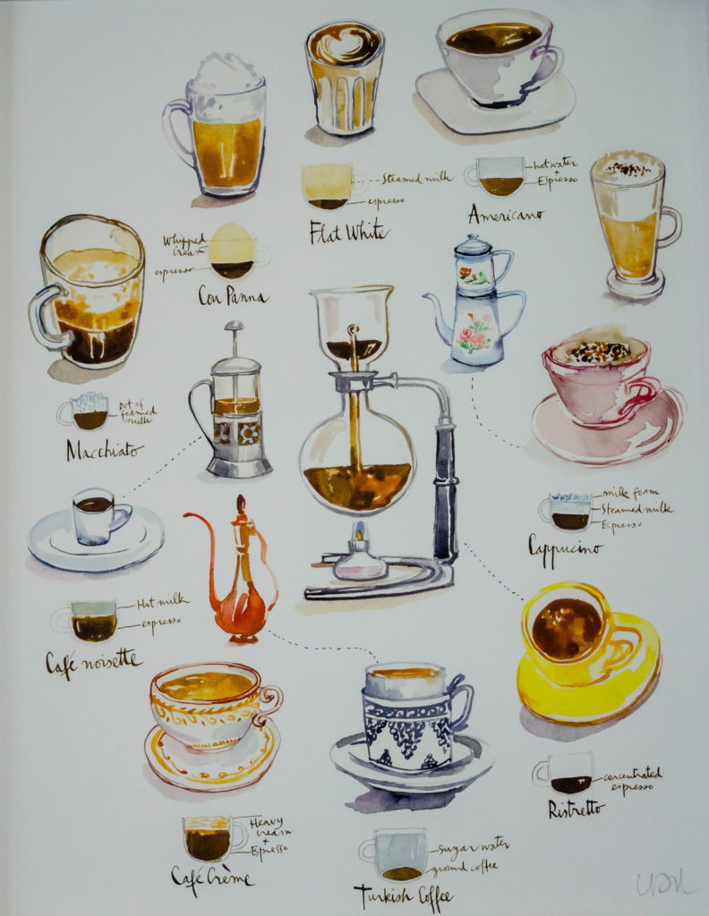 illustrated coffee print