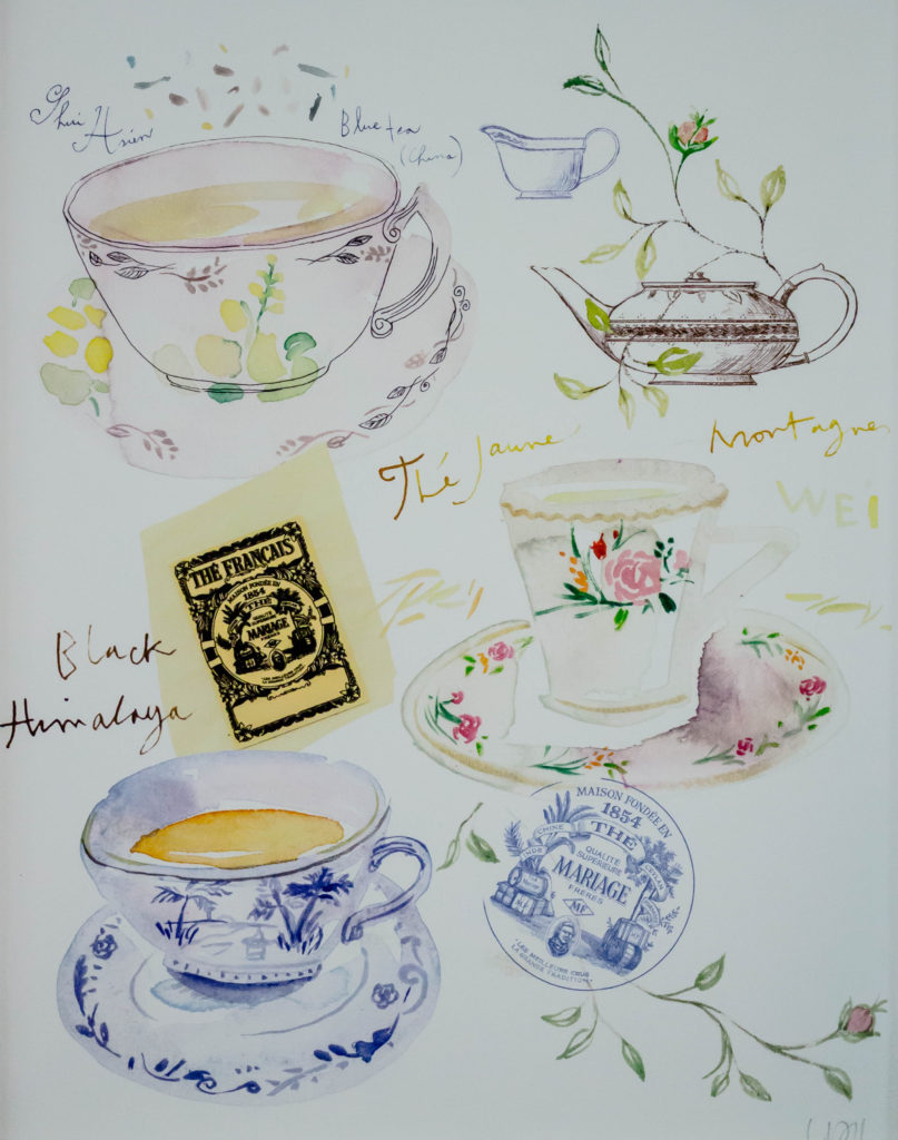 illustrated tea print