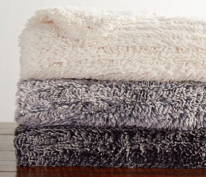 knitted faux fur throw
