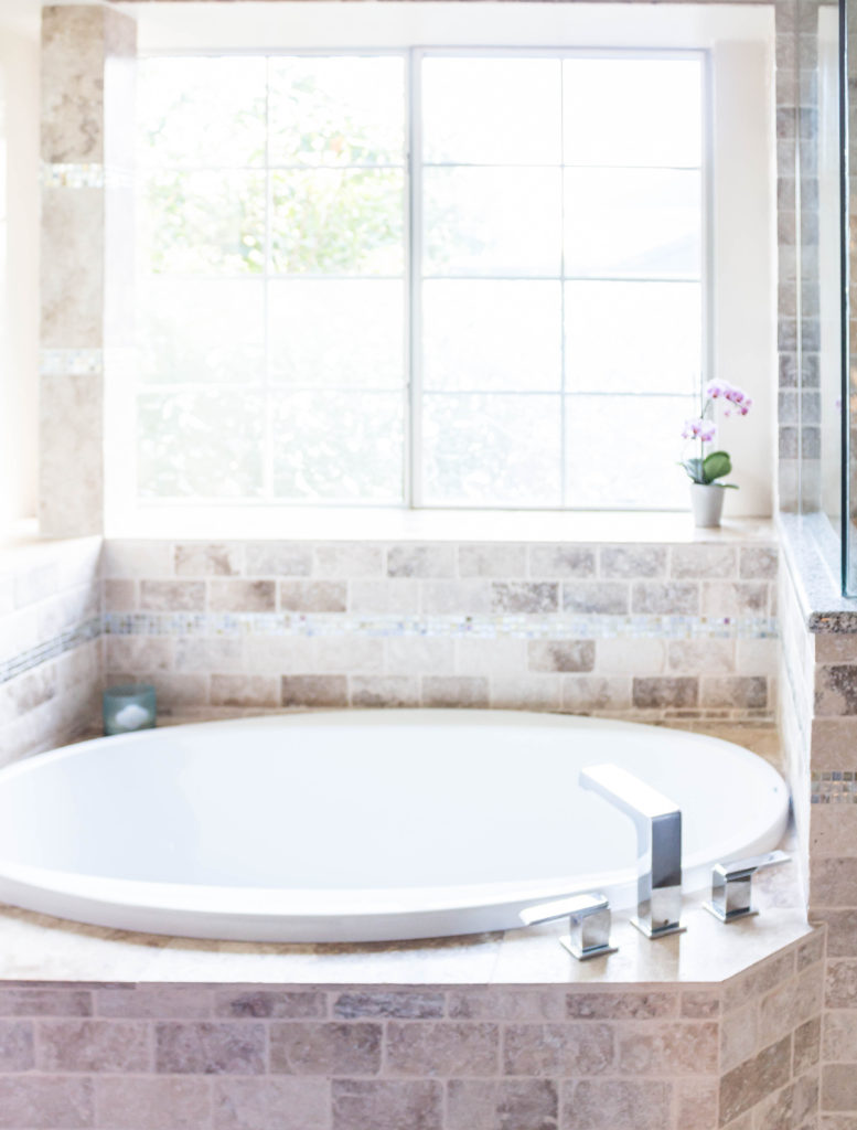 garden bathtub in master bathroom