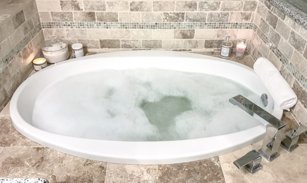 full view of bubble bath for my relaxing bath routine